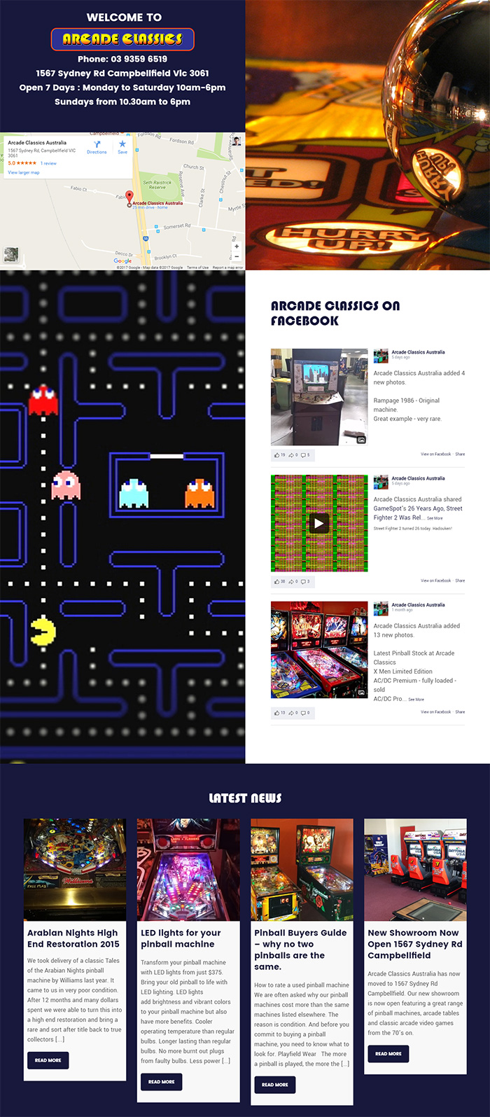 Arcade Classics: a Website Designed by Pebblefood in Melbourne